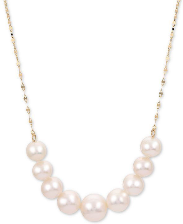 """Macy's Cultured Freshwater Pearl (6 - 8-1/2mm) Graduated 18"""" Collar Necklace in 14k Gold"""