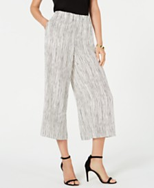 Eileen Fisher Silk Wide-Leg Cropped Pants