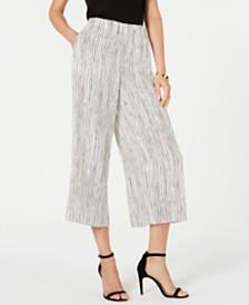Eileen Fisher Silk Wide-Leg Cropped Pants