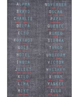 """District Dis-2 Charcoal 5' x 7'6"""" Area Rug"""