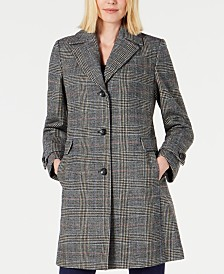 Vince Camuto Plaid Single-Breasted Coat