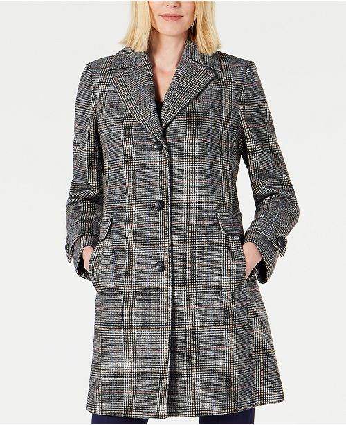 Vince Camuto Petite Single-Breasted Plaid Walker Coat, Created for Macy's