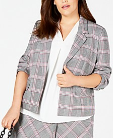 Trendy Plus Size Open-Front Plaid Jacket, Created for Macy's