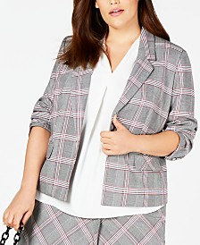 Bar III Trendy Plus Size Open-Front Plaid Jacket, Created for Macy's