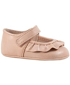 Baby Girl Shimmer PU Mary Jane with Pleated Scallop Overlay