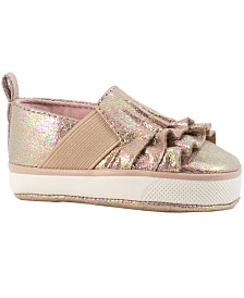 Baby Deer Baby Girl Iridescent Crackle Slip-On with Side Gore and Ruffles Casual Shoe