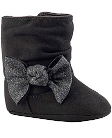 Baby Girl Suedecloth Slouch Boot with Multi-Color Glitter Bow