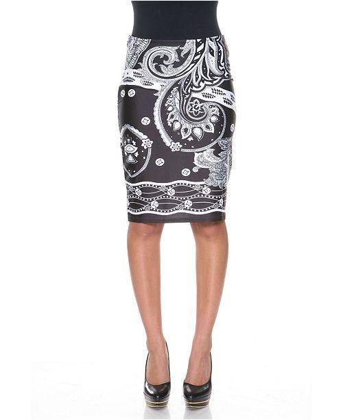 White Mark Pretty and Proper Bandana Print Pencil Skirt