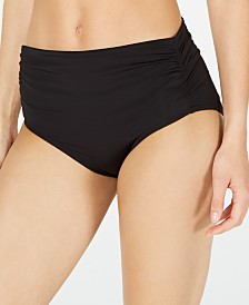 Calvin Klein Ruched High-Waist Bikini Bottoms