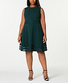 Plus Size Illusion-Trim Fit & Flare Dress