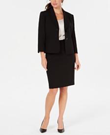 Kasper Plus Size Shawl Pique Jacket &   Textured Pique Skirt