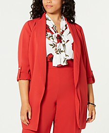 Trendy Plus Size Belted Shawl-Collar Jacket, Created for Macy's