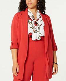 Bar III Plus Size Belted Shawl-Collar Jacket, Created for Macy's