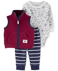 Baby Boys 3-Pc. Quilted Vest, Sports-Print Bodysuit & Striped Pants Set
