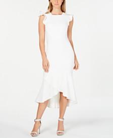 Calvin Klein Ruffled Midi Sheath Dress