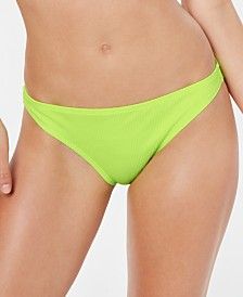 California Waves Juniors' Ribbed Hipster Bikini Bottoms, Created for Macy's