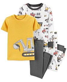 Toddler Boys 4-Pc. Construction Cotton Pajama Set