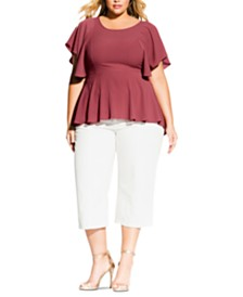 City Chic Trendy Plus Size Flutter-Sleeve Peplum Top