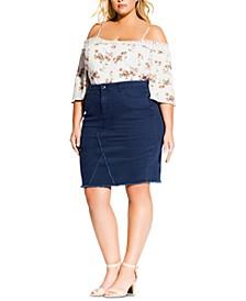 Trendy Plus Size Denim Pencil Skirt