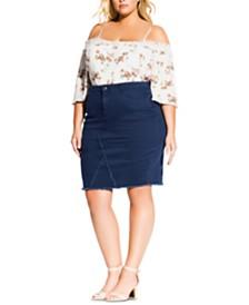 City Chic Trendy Plus Size Denim Pencil Skirt