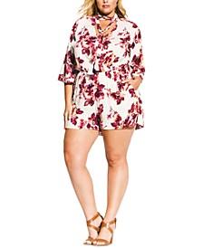 Trendy Plus Size Floral-Print Romper
