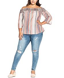 Trendy Plus Size Off-The-Shoulder Top