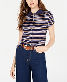 Juniors' Striped Rib-Knit Button-Front Polo