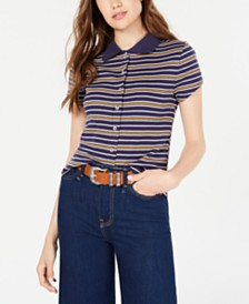 Planet Gold Juniors' Striped Rib-Knit Button-Front Polo