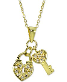 """Giani Bernini 18k Gold-Plate Sterling Silver Cubic Zirconia Heart Lock and Key 18"""" Pendant Necklace, Created for Macy's"""