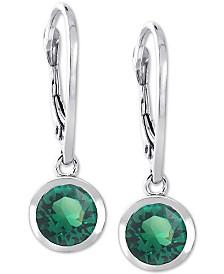 Giani Bernini Cubic Zirconia Bezel Drop Earrings in Sterling Silver, Created for Macy's