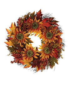 Napco Sunflower Berry Wreath