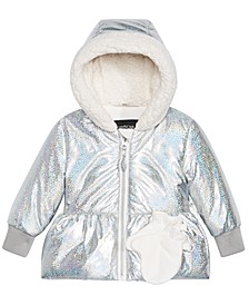 Baby Girls Hologram-Print Hooded Jacket & Mittens