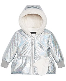 S Rothschild & CO Baby Girls Hologram-Print Hooded Jacket & Mittens