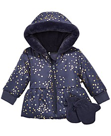 Baby Girls Heart-Print Hooded Jacket & Mittens