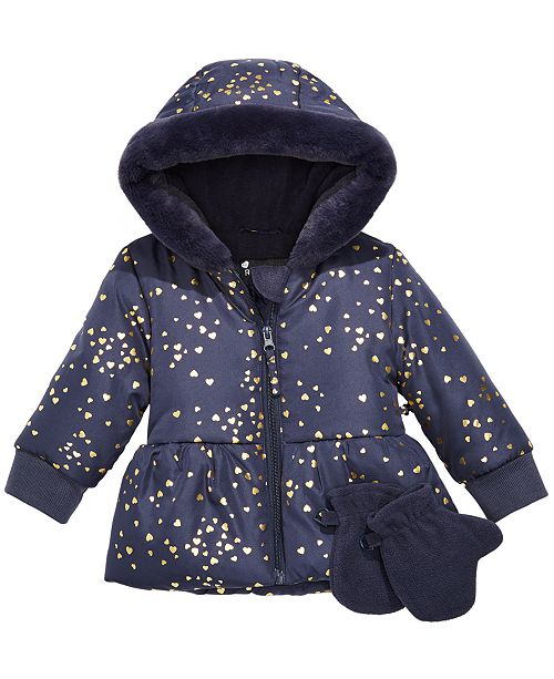 S Rothschild & CO Baby Girls Heart-Print Hooded Jacket & Mittens