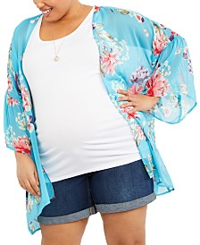 Motherhood Maternity Plus Size Printed Kimono Blouse