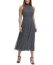 Dot-Print Chiffon Midi Dress