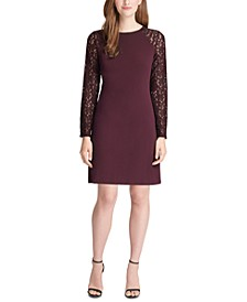 Lace-Sleeve A-Line Dress