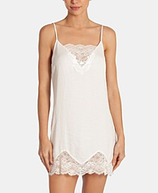 Graciella Satin Lace-Trim Chemise Nightgown