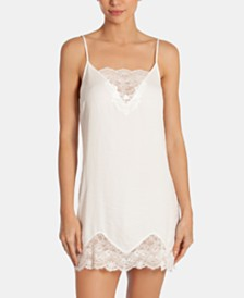 Linea Donatella Graciella Satin Lace-Trim Chemise Nightgown
