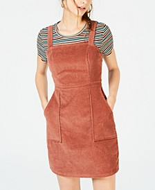 Juniors' Corduroy Dress & Striped T-Shirt
