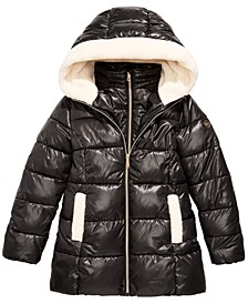 Big Girls Faux-Fur-Trim Hooded Shiny Puffer Jacket