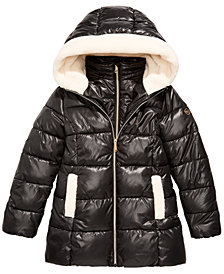 Michael Michael Kors Big Girls Faux-Fur-Trim Hooded Shiny Puffer Jacket