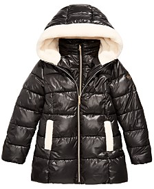 Michael Michael Kors Big Girls Faux-Fur-Trim Hooded Shiny Puffer Jacket