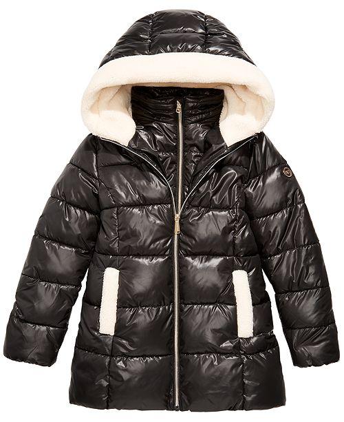 Michael Kors Big Girls Faux-Fur-Trim Hooded Shiny Puffer Jacket