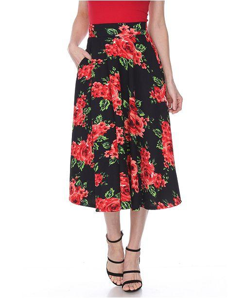 White Mark Flared Flower Print Midi Skirt