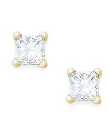 Princess-Cut Diamond Stud Earrings in 10k Gold (1/10 ct. t.w.)