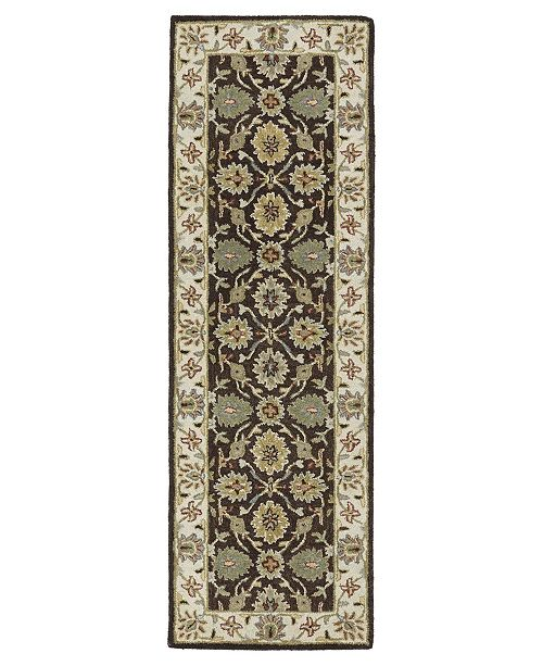 "Kaleen Solomon Elijah-51 Brown 2'6"" x 8' Runner Rug"
