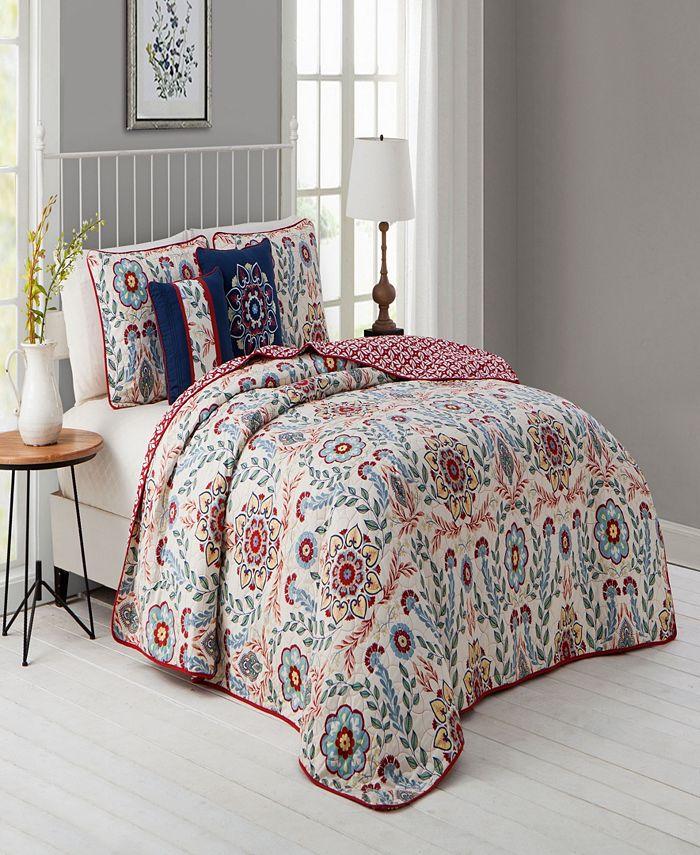 Avondale Manor - Valena 4pc Twin Floral Reversible Quilt Set with Decorative Pillows