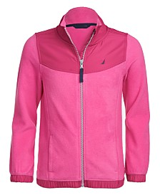 Nautica Big Girls Mock-Neck Polar Fleece Zip-Up Jacket